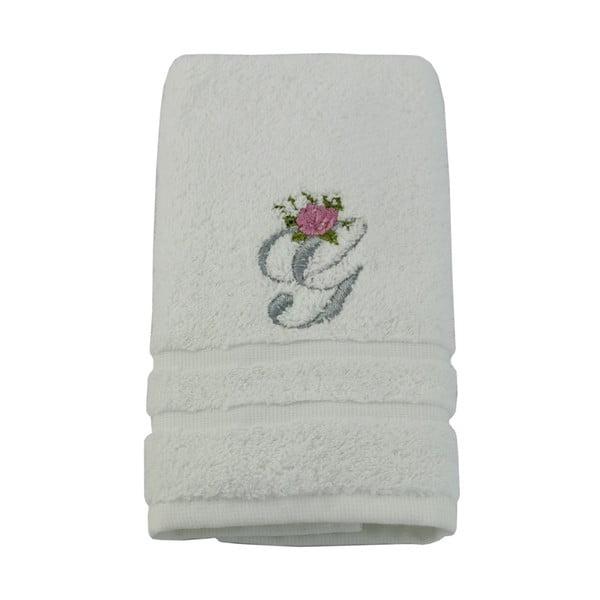 Ręcznik z inicjałem i różyczką G, 50x90 cm