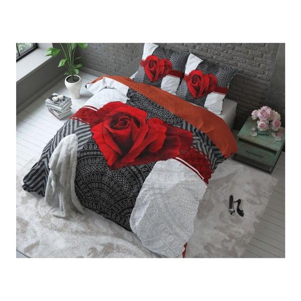 Czerwona pościel bawełniana Dreamhouse Garden Rose, 200x200cm