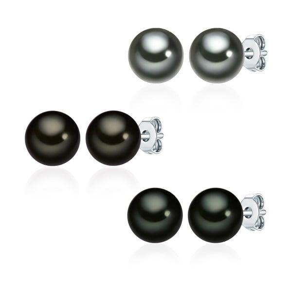 Zestaw 3 par perłowych kolczyków Muschel, zielonobrązowe perły 8 mm