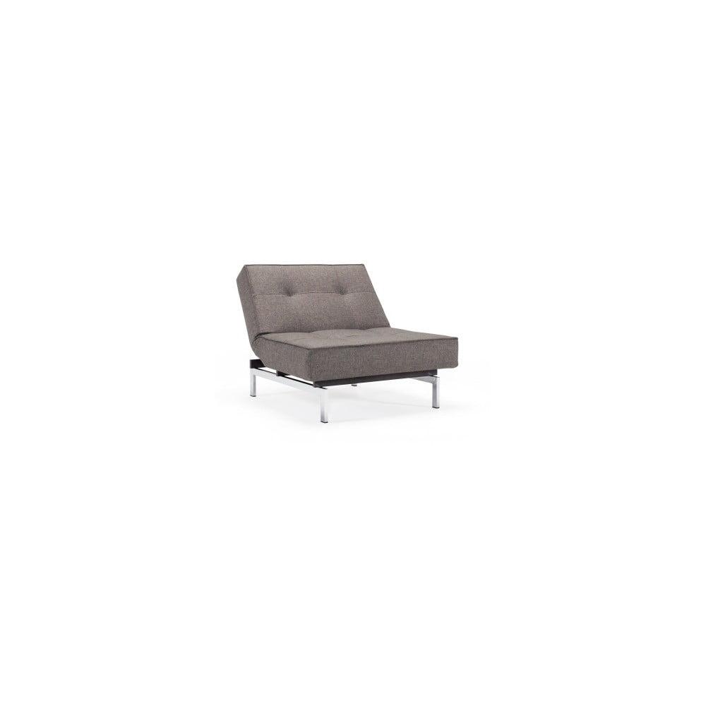 Ciemnoszary rozkładany fotel z metalową konstrukcją Innovation Splitback Flashtex Dark Grey