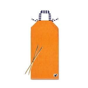 Pomarańczowy leżak plażowy Origama Blue Stripes