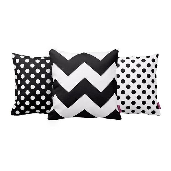 Zestaw 3 poduszek Black&White, 43x43 cm