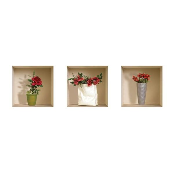 Naklejki na ścianę 3D Roses, 3 szt.