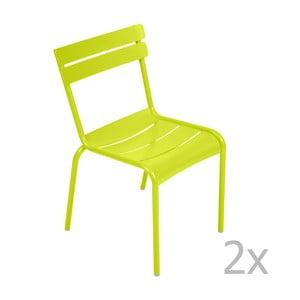 Zestaw 2 limonkowych krzeseł Fermob Luxembourg