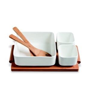 Miski do serwowania na bambusowej tacy Mythos, 30x17 cm