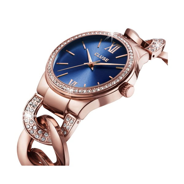 Zegarek damski Brillante Rose Gold/Royal Blue, 38 mm