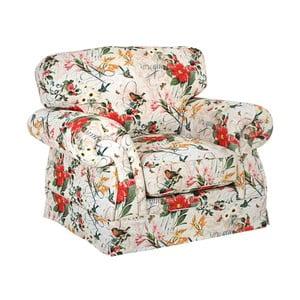 Czerwono-biały fotel w kwiaty Max Winzer Mina