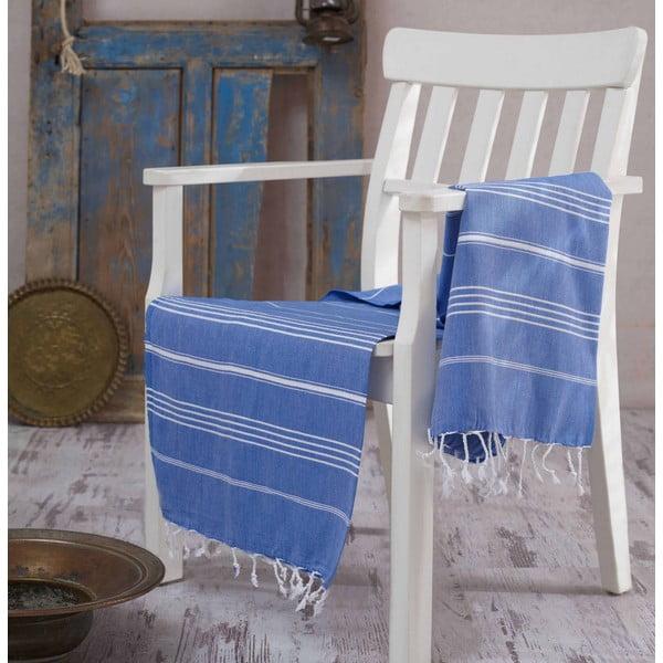 Niebieski ręcznik Hammam Sultan, 100x180 cm
