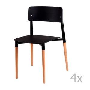 Zestaw 4 czarnych krzeseł z drewnianymi nogami sømcasa Claire