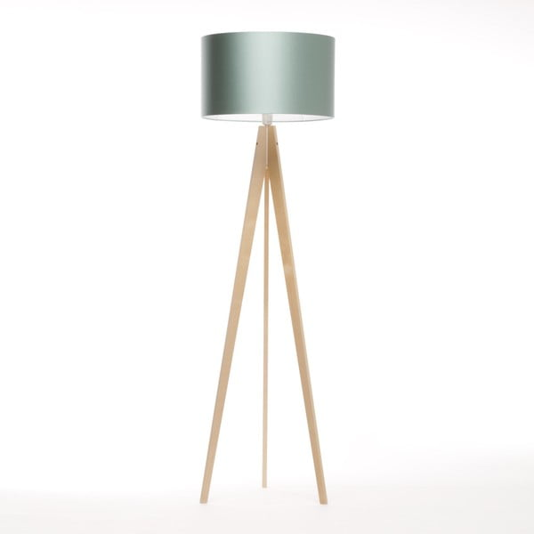 Stalowo-niebieska lampa stojąca Artist, brzoza, 150 cm