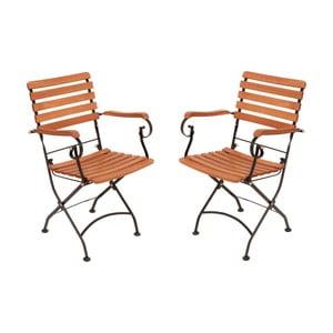 Zestaw 2 ogrodowych krzeseł składanych z podłokietnikami z drewna eukaliptusowego ADDU Vienna
