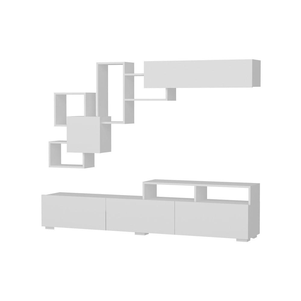 Komplet białej szafki pod TV i półki Elit