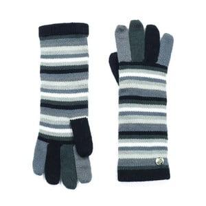 Szare rękawiczki w paski Bella