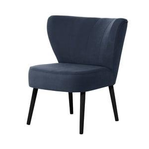 Granatowy fotel z czarnymi nogami My Pop Design Hamilton