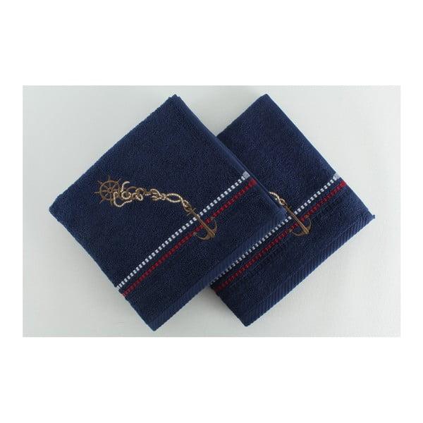 Zestaw 2 ręczników Marina Dark Blue, 50x90 cm