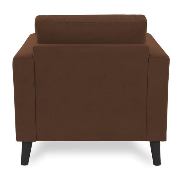 Brązowy fotel z czarnymi nogami Vivonita Tom