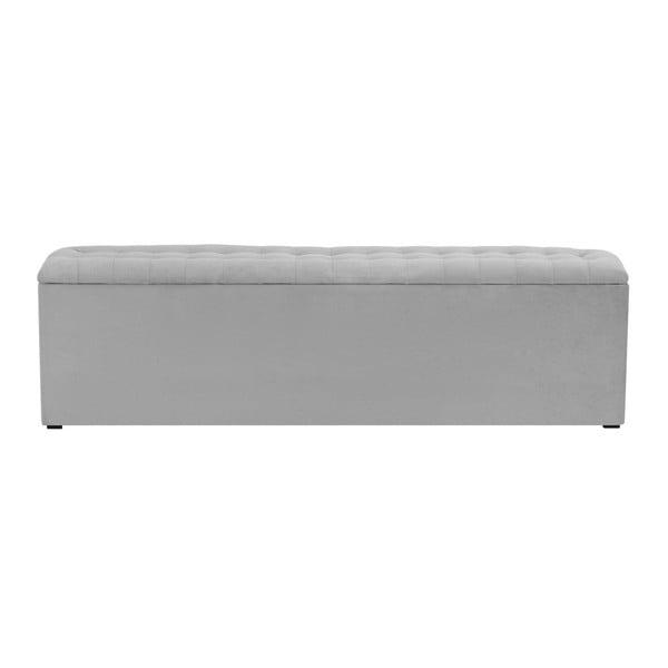 Jasnoszara ławka tapicerowana ze schowkiem Windsor & Co Sofas Nova, 180x47 cm