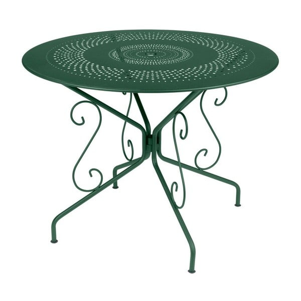 Zielony stół metalowy Fermob Montmartre, Ø 96 cm