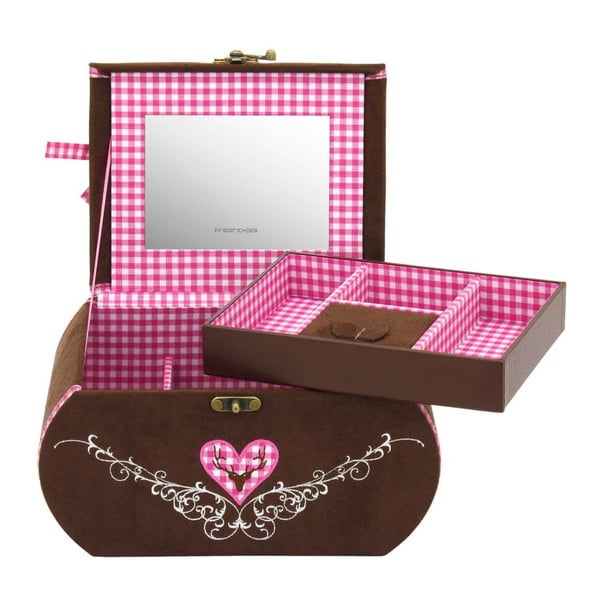Szkatułka na biżuterię Bagvaria Brown/Pink, 22x14,5x13,5 cm