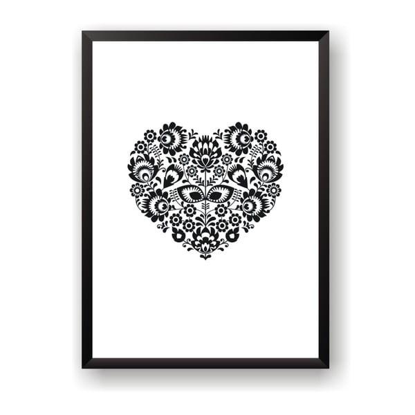 Plakat Nord & Co Floral Heart, 21x29 cm
