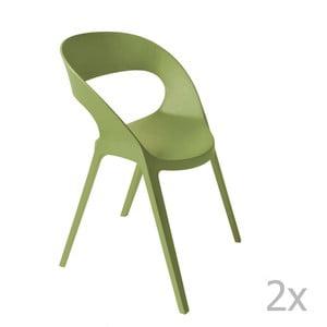 Zestaw 2 zielonych krzeseł ogrodowych Resol carla