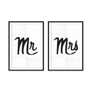 Zestaw 2 obrazów Really Nice Things Mr&Mrs, 40x60cm