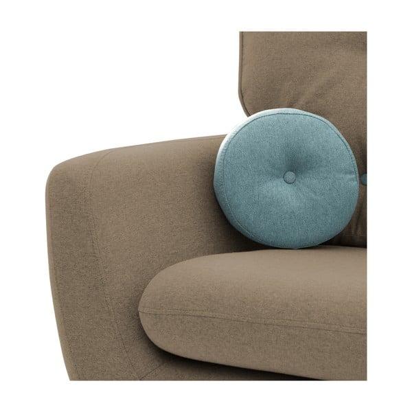 Beżowy fotel z niebieską poduszką VIVONITA Malva