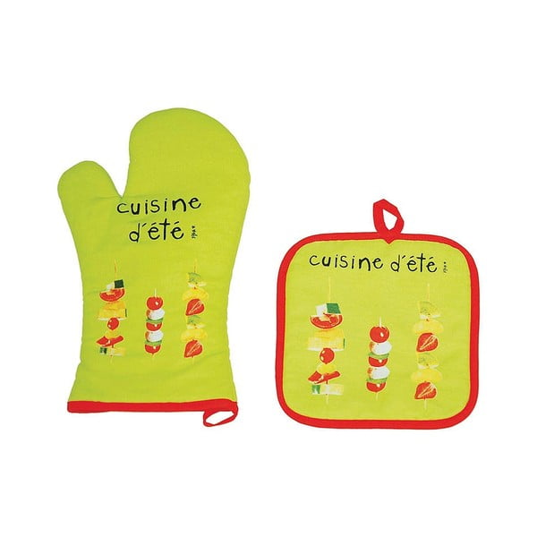 Komplet  rękawiczki i łapki kuchennej Incidence Cuisine Lime