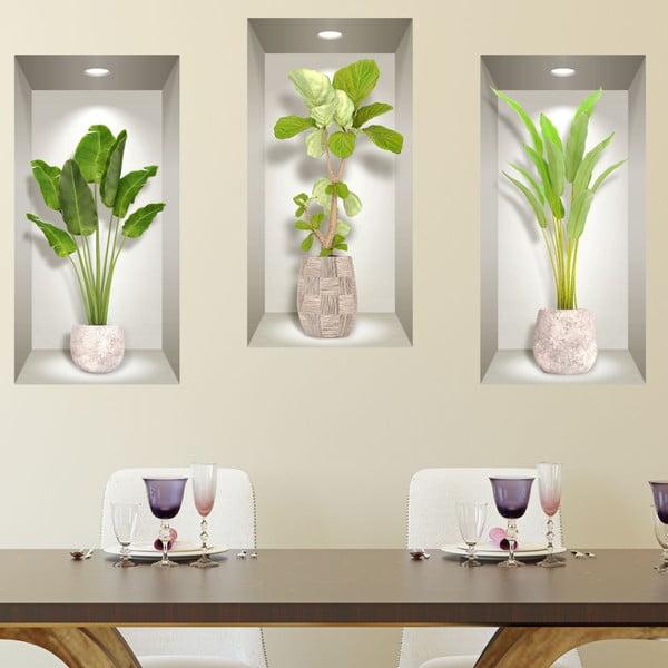 Komplet 3 naklejek ściennych 3D Ambiance Banana Trees