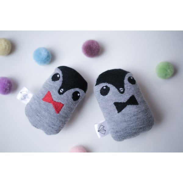 Mini Pluszak Pingwin w pudełku, czarna muszka
