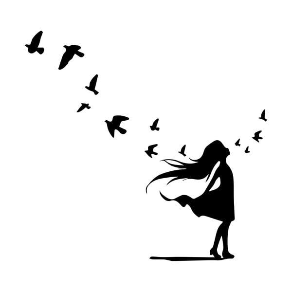 Naklejka Ambiance Girl and Bird