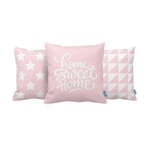 Zestaw 3 poduszek Home Sweet Home, 43x43 cm, růžová