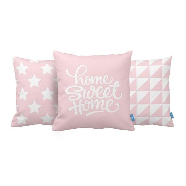 Zestaw 3 różowych poduszek Home Sweet Home, 43x43 cm