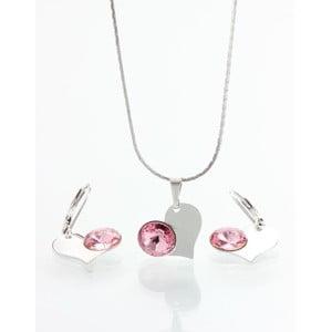 Komplet naszyjnika i kolczyków z kryształami Swarovskiego Yasmine Pink Heart