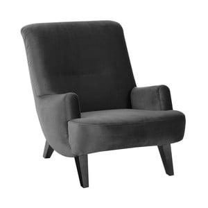 Antracytowy fotel z czarnymi nogami Max Winzer Brandford Suede