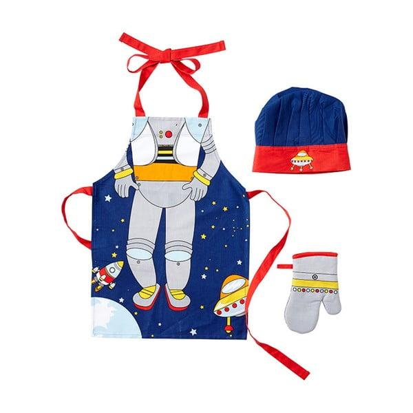 Zestaw kuchenny dziecięcy: fartuch, czepek i rękawica Ladelle Spaceman