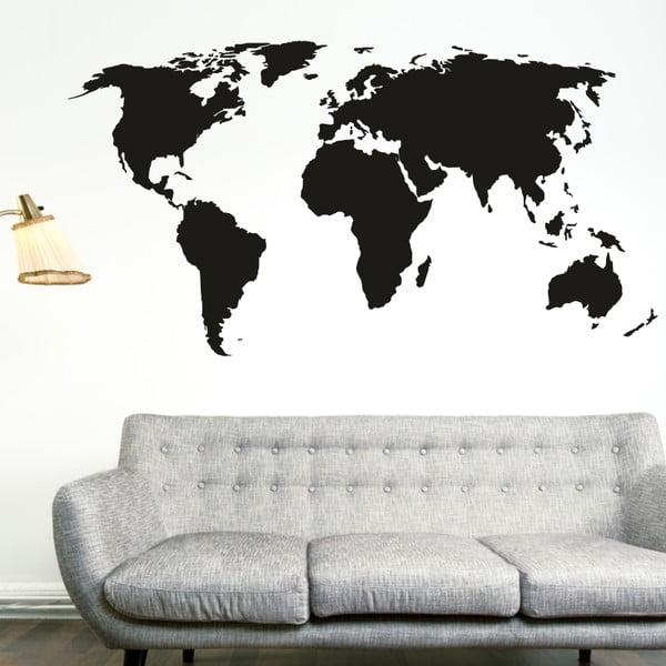 Naklejka ścienna Duża mapa świata, czerń