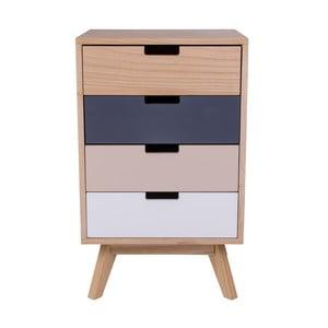 Kolorowa drewniana komoda z 4 szufladami House Nordic Milano