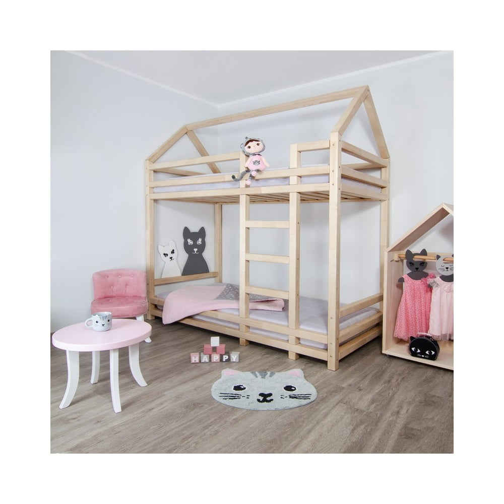 Łóżko piętrowe z drewna świerkowego z drabinką po prawej stronie Benlemi Twiny, 120x200 cm