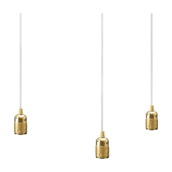 Biało-złota trzyramienna lampa wisząca Bulb Attack Uno