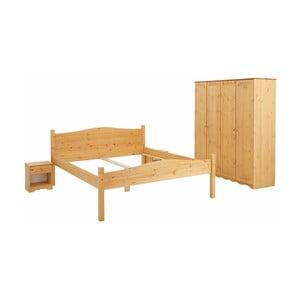 Komplet 3 mebli do sypialni z drewna sosnowego Støraa Maine