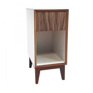 Mała szafka nocna z białym korpusem i brązową szufladą Ragaba PIX