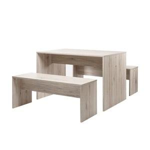 Stół z 2 ławkami w kolorze dębu Intertade Berlin