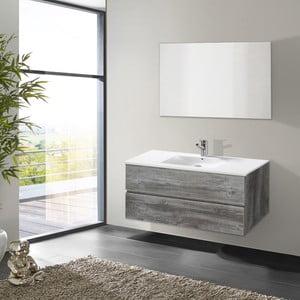 Szafka do łazienki z umywalką i lustrem Flopy, motyw vintage, 100 cm