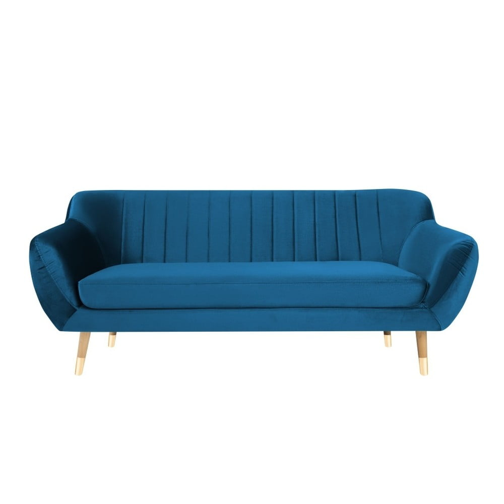 Niebieska aksamitna sofa Mazzini Sofas Benito, 188 cm