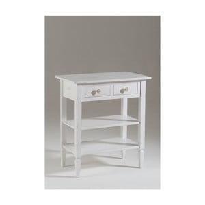 Biały stolik pod TV z drewna z półką Castagnetti Ellie