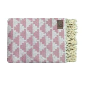Różowy pled bawełniany Triangles, 130x170cm