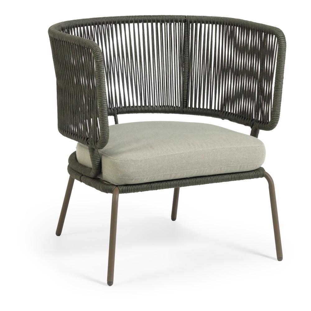 Zielony fotel ogrodowy ze stalową konstrukcją La Forma Nadin