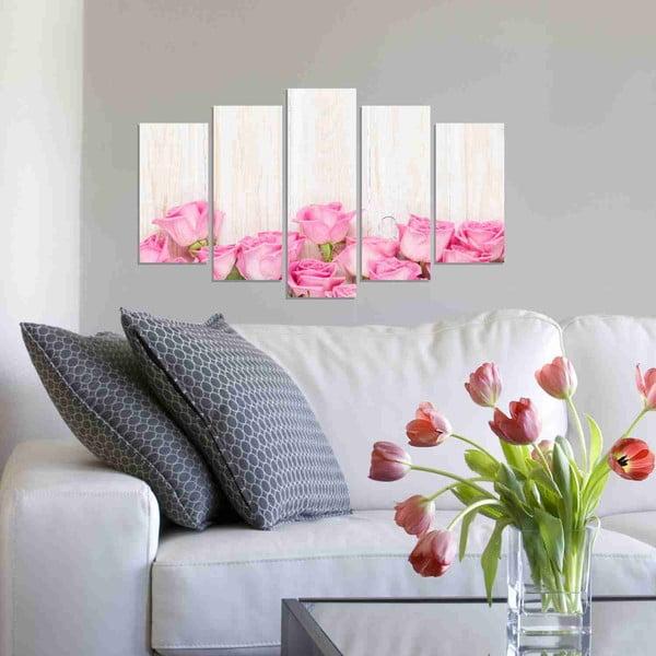 Pięcioczęściowy obraz Pink Rose