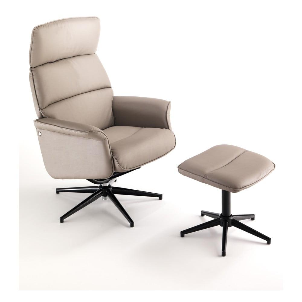 Beżowy fotel obrotowy z podnóżkiem Tomasucci Clara